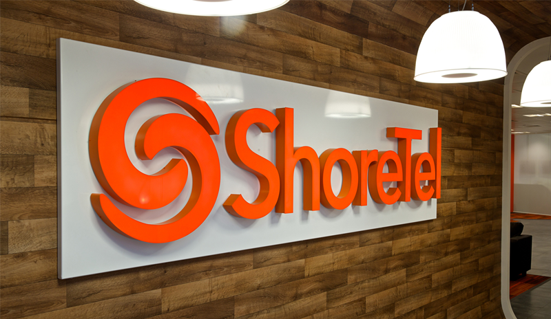 Shoretel logo at their modern office space