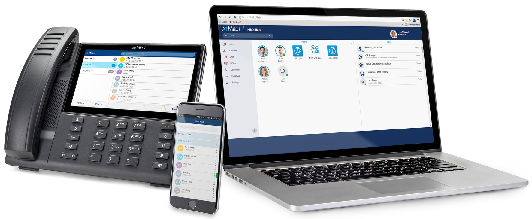 Mitel Unified Communications Trio on landline, mobile phone, and laptop