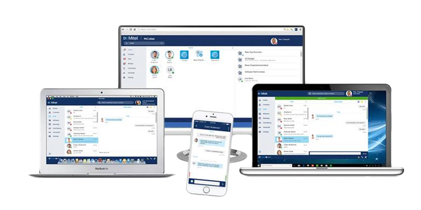 Collection of Mitel collaboration softwares on different devices: iphone, laptop, desktop