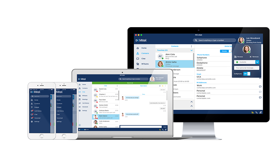 Example of Towner business communication services with Mitel on different devices