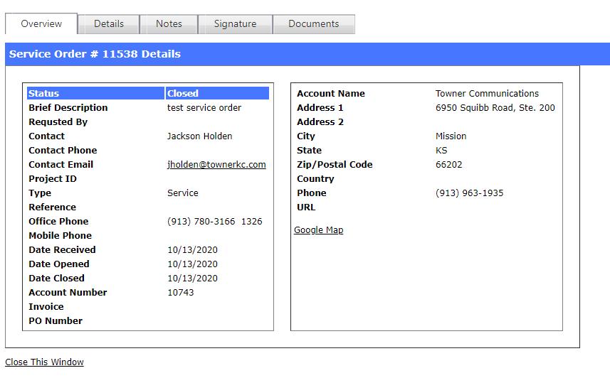 Service Order Details